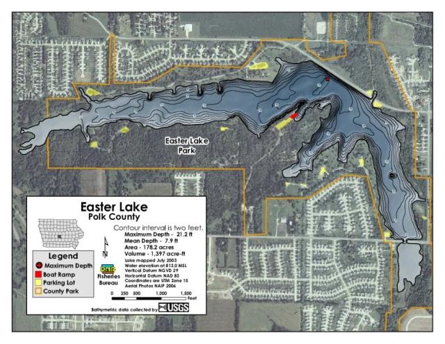 Easter Lake Contour Map