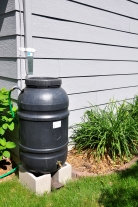 Rain barrel at a residence in Johnston, Iowa.