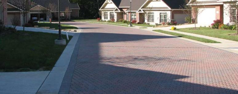 Entire streets can be paved with permeable pavers, such as this example from Minnesota.