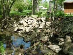 Before - Like many areas along Yeader Creek rocks and concrete have been dumped in failed effort to stabilize banks