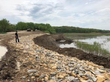 Riprap placed near the Easte Lake boat ramp, summer 2018