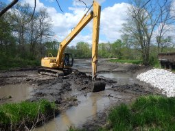 Start of sediment removal, May 2017.