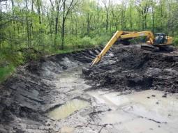 Half way through sediment removal.