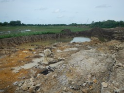 Sediment removal area of the lake bed.