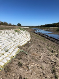 Shoreline deepening and stabilization with Flexamat on the north side of the lake.