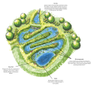 Plan view illustration of a stormwater wetland